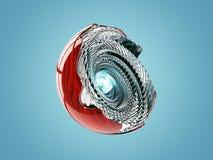 Sphère cyan abstraite illustration 3d, sur le fond bleu Image libre de droits