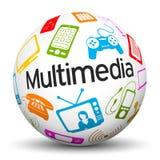 Sphère 3D blanche avec les icônes de multimédia et le label des textes illustration stock