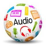 Sphère 3D blanche avec les icônes et le label audio des textes illustration libre de droits