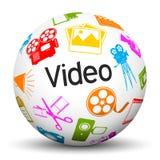 Sphère 3D blanche avec les icônes et le label visuels des textes illustration de vecteur
