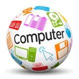 Sphère 3D blanche avec les icônes d'ordinateur et le label des textes illustration de vecteur
