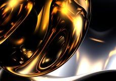 Sphère d'or dans la lumière Photographie stock libre de droits