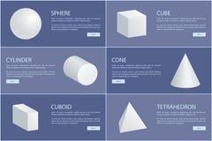 Sphère 3D de cône de cylindre d'octaèdre de pyramide carrée illustration libre de droits
