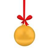 Sphère d'or de Noël Photographie stock