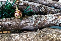 Sphère d'or de Noël dans les branches naturelles photographie stock