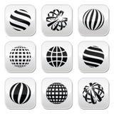 Sphère de globe, boutons de la terre réglés Photo stock