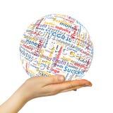 Sphère de main de femme avec des mots d'affaires Photo stock