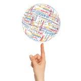 Sphère de main de femme avec des mots d'affaires Images libres de droits