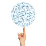 Sphère de main de femme avec des mots d'affaires Photographie stock