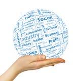 Sphère de main de femme avec des mots d'affaires Image stock