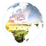 Sphère de projet de concept de la terre de planète Blanc d'isolement Image libre de droits