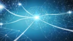 Sphère de système de connexions et rendu des échanges de données 3D Photos stock