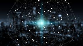 Sphère de système de connexions et rendu des échanges de données 3D Photo libre de droits