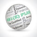 sphère de thème de plan de 401 k avec des mots-clés Image stock