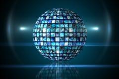 Sphère des écrans numériques dans le bleu Photos libres de droits