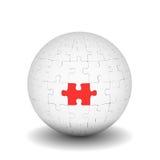 Sphère des puzzles avec l'élément rouge Images stock