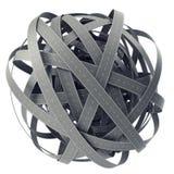 Sphère des routes embrouillées, sur le fond cyan illustration 3D Images stock