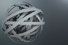 Sphère des routes embrouillées, sur le fond gris Noeud abstrait de route Voyage de concept, transport illustration 3D images libres de droits