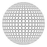 Sphère du globe 3D avec la maille d'anneau sur la surface, vecteur de la structure ronde de la sphère illustration stock