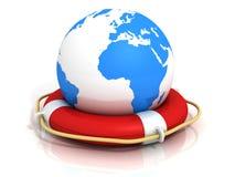 Sphère du monde de la terre de globe et boucle lifebuoy Photos stock