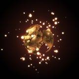 Sphère du sable illuminé par le rendu rougeoyant des boules 3D Photographie stock