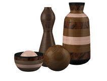 Sphère en bois de cuvette de vase à composition illustration stock