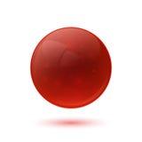 Sphère en verre brillante rouge Photographie stock