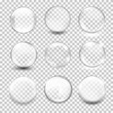Sphère en verre transparente blanche avec des éclats et des points culminants Images libres de droits