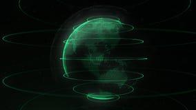 Sphère futuriste des points Interface de mondialisation Sens des graphiques abstraits de la science et technologie rendu 3d illustration de vecteur