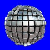 Sphère métallique de cube sur le fond bleu Photographie stock