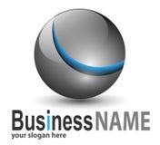 Sphère métallique de logo Image stock
