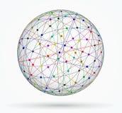 Sphère multicolore des connexions numériques globales, réseau Image stock