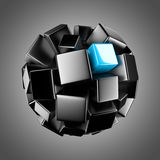 Sphère noire avec l'élément bleu-clair Image libre de droits
