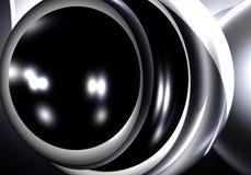Sphère noire dans le metall argenté Photos stock