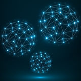 Sphère polygonale abstraite, connexions réseau Photographie stock