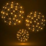 Sphère polygonale abstraite, connexions réseau Photos stock