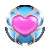 Sphère rose d'amour en métal de coeur Image stock