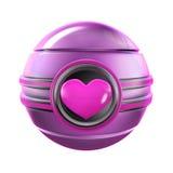 Sphère rose en métal de coeur Image libre de droits