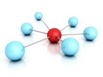 Sphère rouge au centre du réseau conceptuel illustration stock