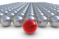 Sphère rouge d'amorce avec des sphères Photo stock