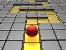 Sphère rouge dans le labyrinthe Images stock