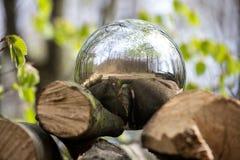 Sphère se reflétante à l'arrière-plan de forêt Image libre de droits