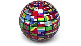 Sphère tournante avec des drapeaux du monde