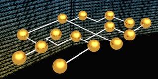 Sphères abstraites d'or sur le fond digital Image libre de droits