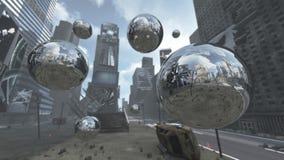 Sphères argentées apocalyptiques sur Time Square New York Manhattan rendu 3d Photographie stock libre de droits
