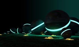 Sphères cosmiques et pierres jaunes rougeoyantes Photos libres de droits