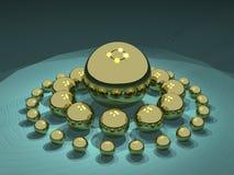 Sphères d'or abstraites Photos libres de droits
