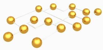 Sphères d'or connectées par abstrait sur le blanc Photo libre de droits