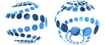 Sphères d'isolement abstraites r3fléchissantes bleues Images libres de droits