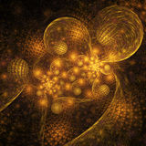 Sphères d'or rougeoyantes abstraites sur le fond noir Photographie stock libre de droits